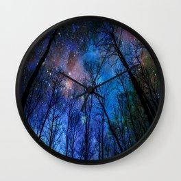 Black Trees Dark Blue Space Wall Clock