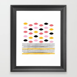 Kisses & Stripes hot summer edition - black, white, gold and pink pattern in vintage Style Framed Art Print