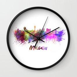 Macau skyline in watercolor Wall Clock