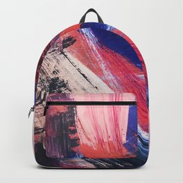 Los Angeles: A vibrant, abstract piece in reds and blues by Alyssa Hamilton Art Backpack