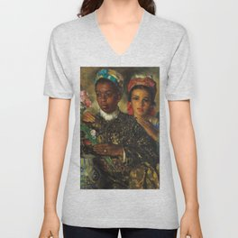 "African American Masterpiece ""Women Arranging a Bouquet of Flowers' by Jose Cruz Herrera Unisex V-Neck"