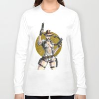 lara croft Long Sleeve T-shirts featuring Lara Croft Indy by Juan Pablo Cortes