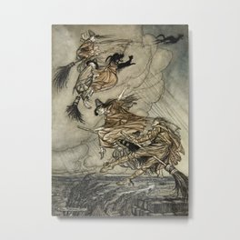"""Four Witches """"Up The Chimney"""" by Arthur Rackam Metal Print"""