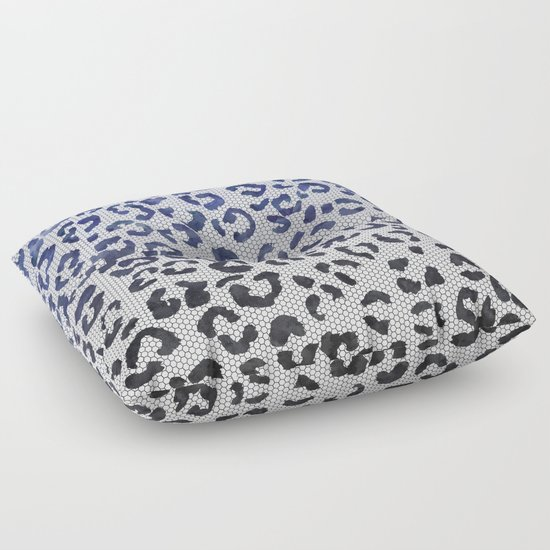 Modern navy blue black watercolor ombre leopard lace pattern Floor Pillow by Girly Trend Society6