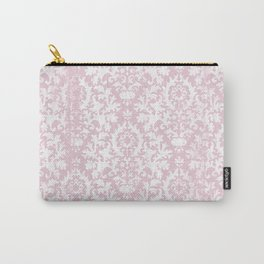 Vintage blush pink white grunge floral damask Carry-All Pouch