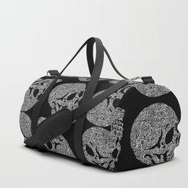Skull doodle pattern - white on black Duffle Bag