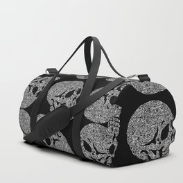 Skull doodle pattern - white on black - trippy art Duffle Bag