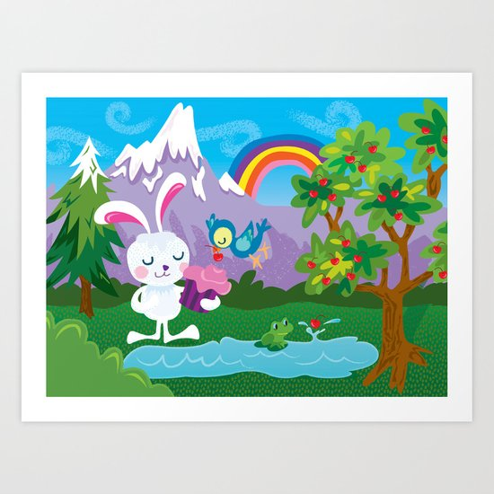 Mr. Bunnycakes in the forest Art Print