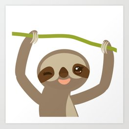 funny and cute smiling Three-toed sloth on green branch 2 Art Print