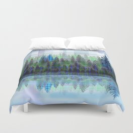 Nature Reflected Plaid Pine Forest Duvet Cover