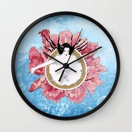 Bathing flower - Japanese girl Wall Clock