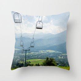 Mountain Cableway Throw Pillow