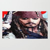 jack sparrow Area & Throw Rugs featuring Jack Sparrow by Brian Raggatt