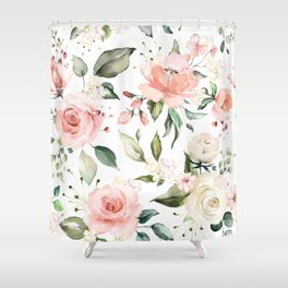 Watercolor Pink Peonies, Pink and White Roses and Greenery Shower Curtain