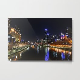 Melbourne Australia Night Lights Cityscape Metal Print