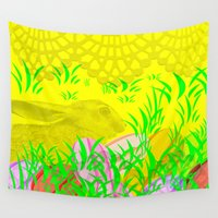 easter Wall Tapestries featuring Easter Bunny  by Tanja Riedel