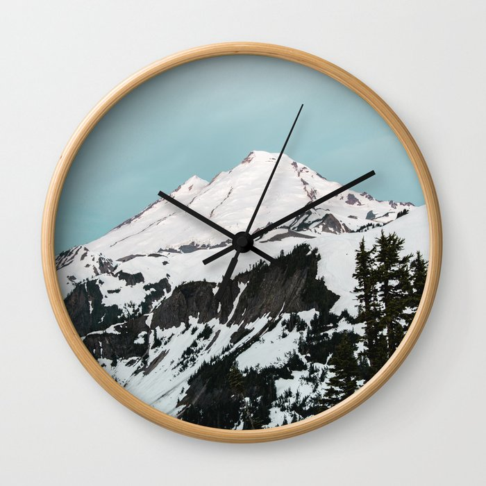 Turquoise Sky Mt. Baker Wall Clock