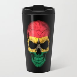 Dark Skull with Flag of Ghana Travel Mug