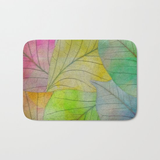 Pattern of Colorful Leaves Bath Mat