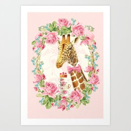 Giraffe high tea Art Print