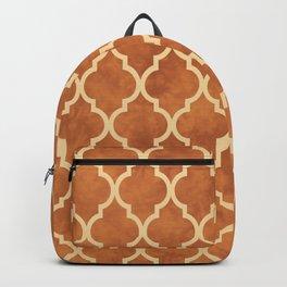 Classic Quatrefoil Lattice Pattern 912 Beige and Ochre Backpack