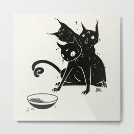Creepy Cute Three Headed Black Cat Artwork Metal Print
