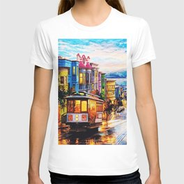 Russian Hill, San Francisco with view of Bay T-shirt