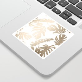 Simply Tropical Palm Leaves in White Gold Sands Sticker