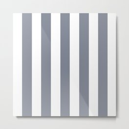 Roman silver grey - solid color - white vertical lines pattern Metal Print