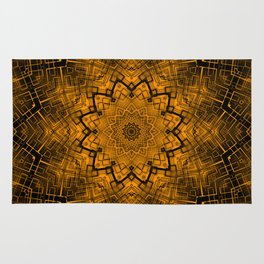 Black and yellowbrown kaleidoscope Rug