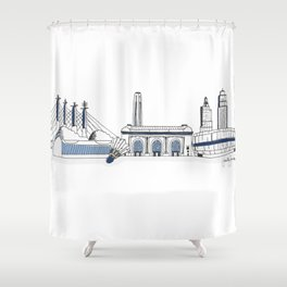Kansas City Skyline Illustration in Sporting KC Colors Shower Curtain