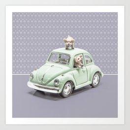 Road Pig on Violet Art Print
