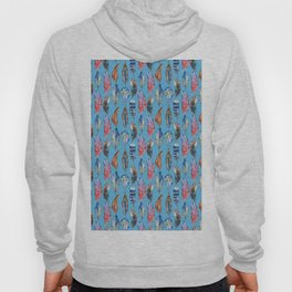 Pink blue lilac watercolor bohemian hand painted feathers Hoody