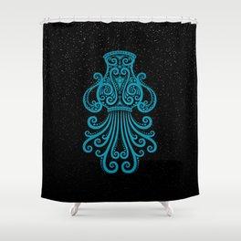 Blue Aquarius Zodiac Sign in the Stars Shower Curtain