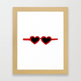Red Heart Shaped Sunglasses Framed Art Print