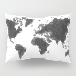 World Map Black Sketch, Map Of The World, Wall Art Poster, Wall Decal, Earth Atlas, Geography Map Pillow Sham