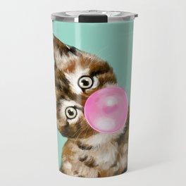 Bubble Gum Baby Cat in Green Travel Mug