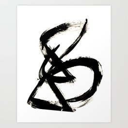 Brushstroke 3 - a simple black and white ink design Art Print