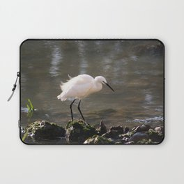 white heron bird by the river Laptop Sleeve
