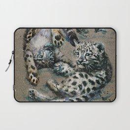 Snow leopard 2 background Laptop Sleeve