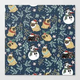 Christmas Pugs Canvas Print