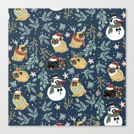 Christmas Pugs Canvas Print