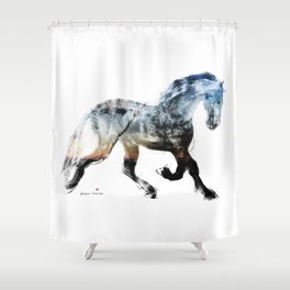 Horse (Summer Friesian) Shower Curtain