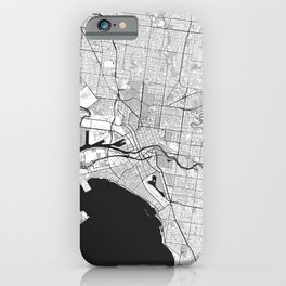 Melbourne City Map Gray iPhone Case