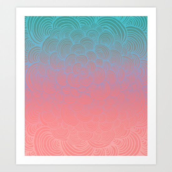 Ombre Clam Shells - Mint, Peach, Purple and Pink Art Print