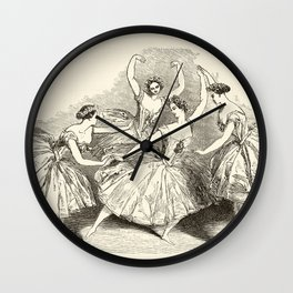 1845 Wood Engraving Print of Female Ballet Dancers Wall Clock
