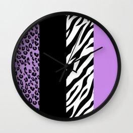 Animal Print, Zebra Stripes, Leopard Spots - Purple Wall Clock