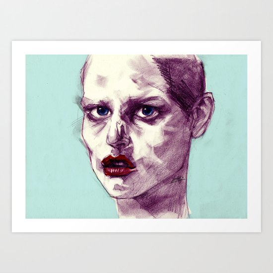 Scary Dirty Face with Red Lips Art Print