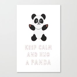 Keep Calm And Hug Cute Adorable Panda Baby Bear T Shirt Canvas Print