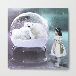 Snow Globe Bear Metal Print